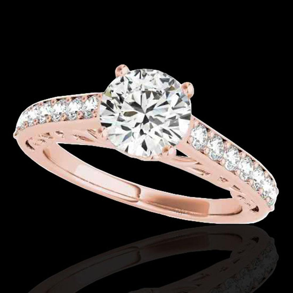 1.4 ctw Certified Diamond Solitaire Ring 10k Rose Gold - REF-190K9Y