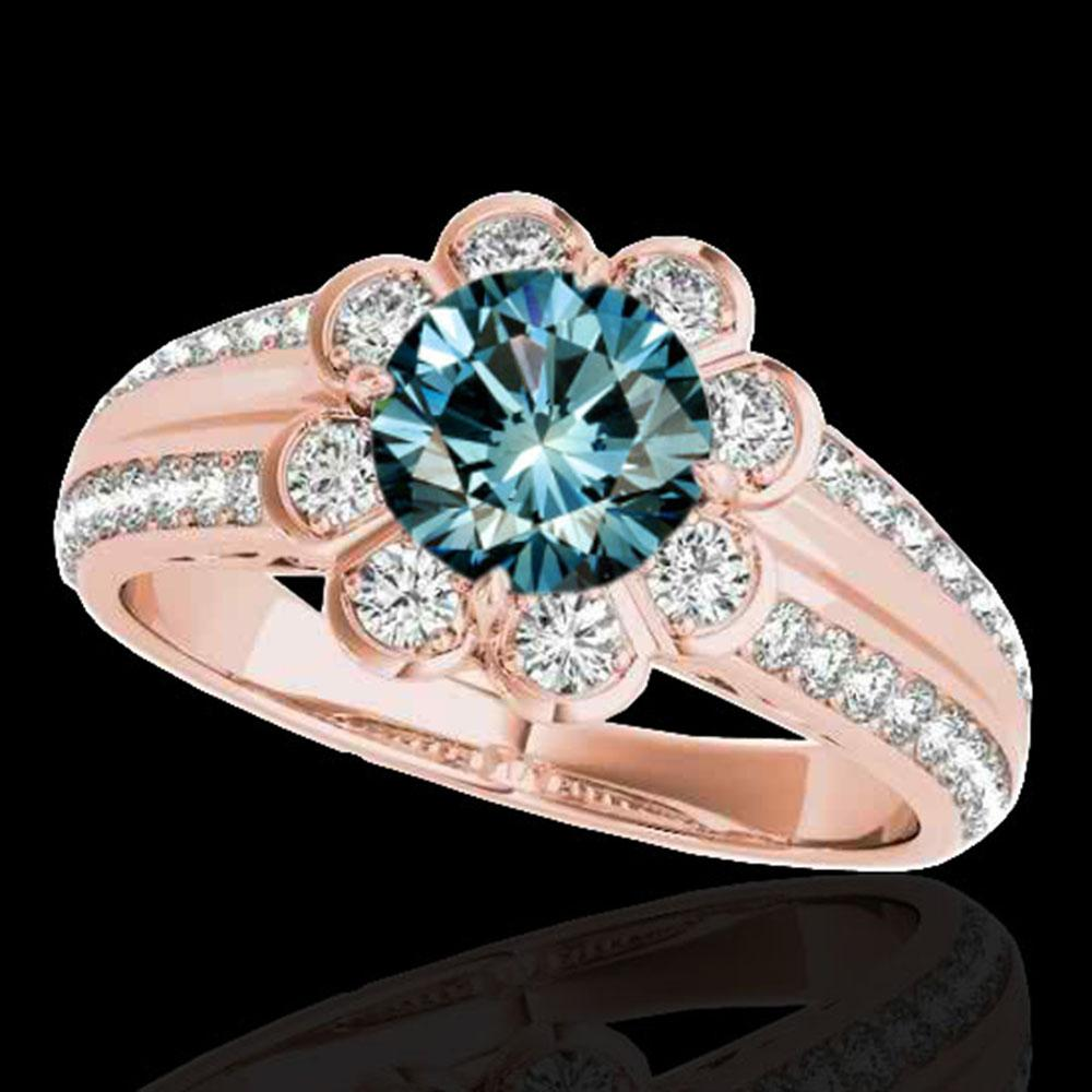 1.5 ctw SI Certified Fancy Blue Diamond Solitaire Halo Ring 10k Rose Gold - REF-128G8W