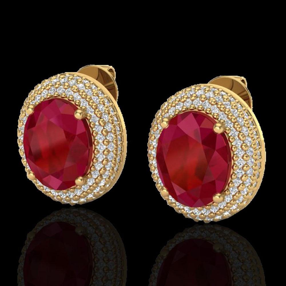 9.20 ctw Ruby & Micro Pave VS/SI Diamond Earrings 18k Yellow Gold - REF-190M2G