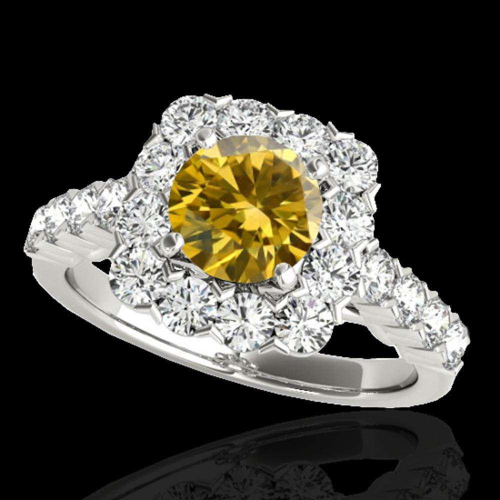 2.5 ctw Certified SI/I Fancy Intense Yellow Diamond Ring 10k White Gold - REF-245F5M