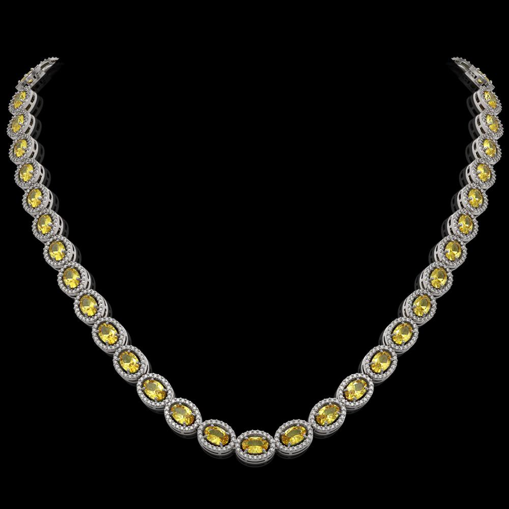 28.52 ctw Fancy Citrine & Diamond Micro Pave Halo Necklace 10k White Gold - REF-600Y2X