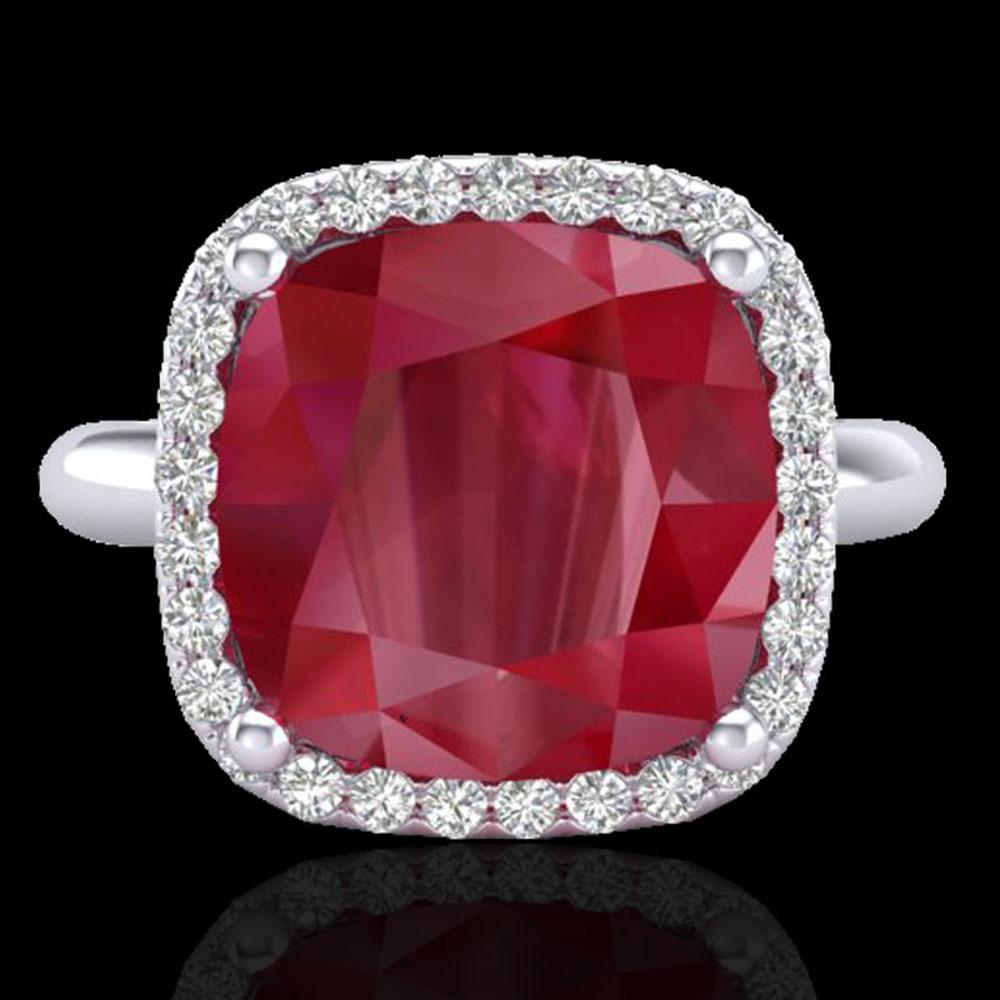 6 ctw Ruby & Micro Pave VS/SI Diamond Certified Ring 18k White Gold - REF-77G3W