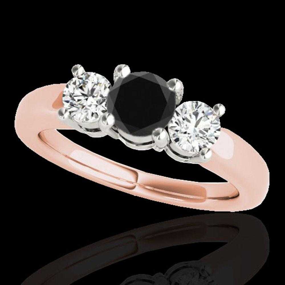 2 ctw Certified VS Black Diamond 3 Stone Solitaire Ring 10k Rose Gold - REF-139F3M