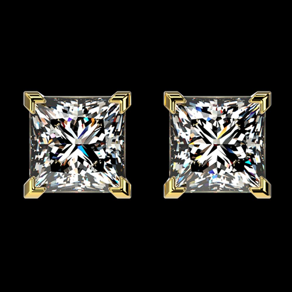 2 ctw Certified VS/SI Quality Princess Diamond Stud Earrings 10k Yellow Gold - REF-478W6H