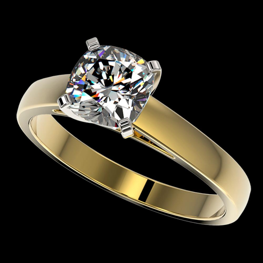 1.25 ctw Certified VS/SI Quality Cushion Cut Diamond Ring 10k Yellow Gold - REF-304A6N