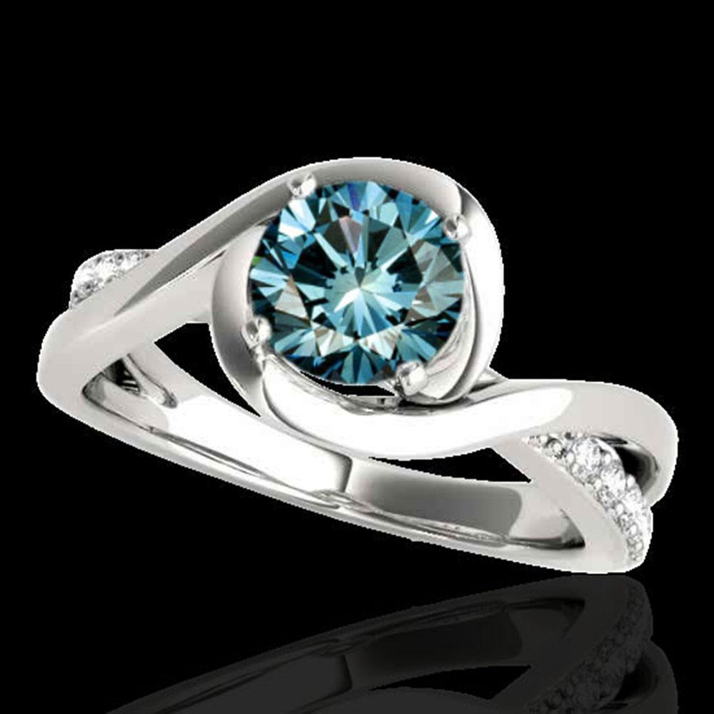 1.15 ctw SI Certified Fancy Blue Diamond Solitaire Ring 10k White Gold - REF-113F2M