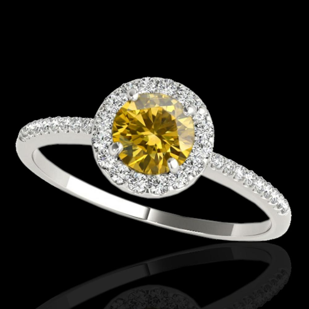 1.2 ctw Certified SI/I Fancy Intense Yellow Diamond Ring 10k White Gold - REF-177A3N