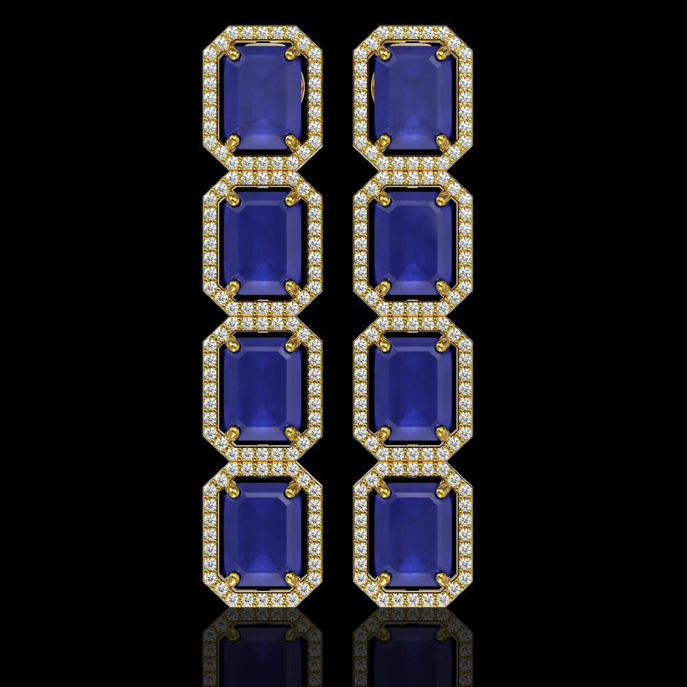20.59 ctw Sapphire & Diamond Micro Pave Halo Earrings 10k Yellow Gold - REF-213R8K