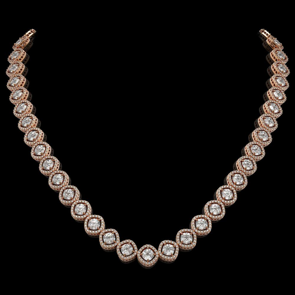 29.37 ctw Cushion Cut Diamond Micro Pave Necklace 18K Rose Gold - REF-3956X6A