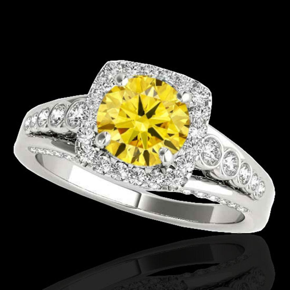 2 ctw Certified SI/I Fancy Intense Yellow Diamond Halo Ring 10k White Gold - REF-259R3K