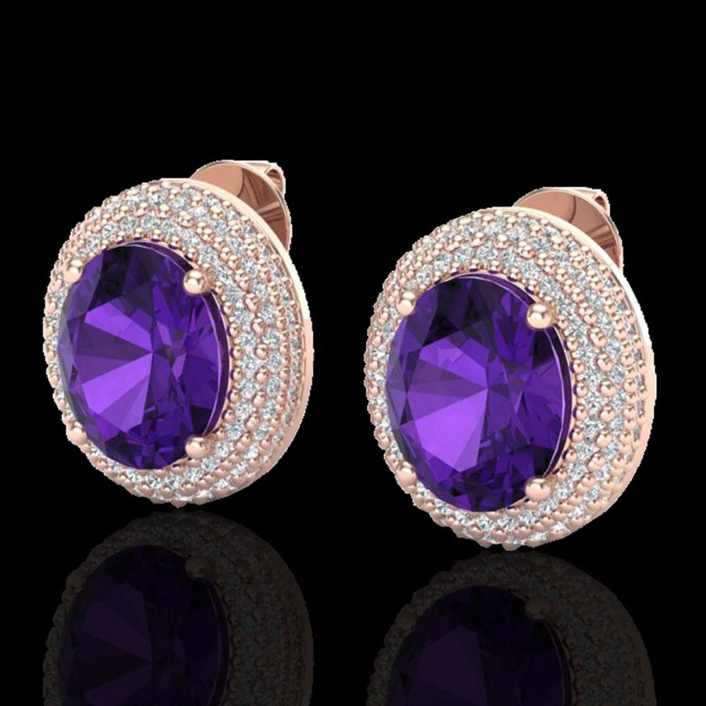 8 ctw Amethyst & Micro Pave VS/SI Diamond Earrings 14k Rose Gold - REF-141M8G