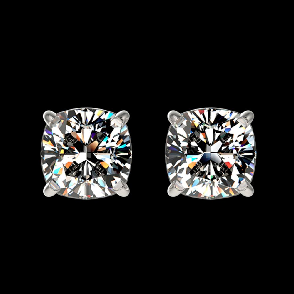 1 ctw Certified VS/SI Quality Cushion Diamond Stud Earrings 10k White Gold - REF-120H3R