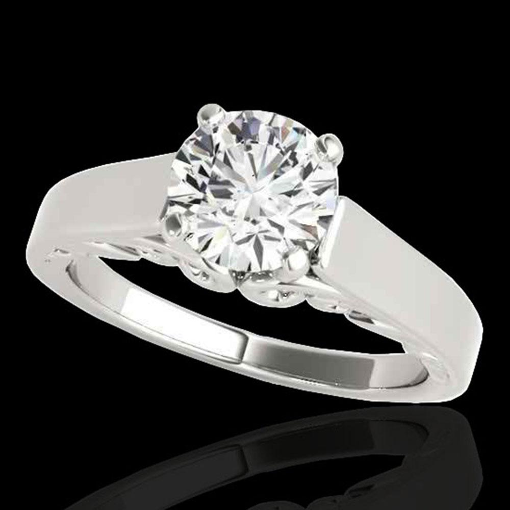 1 ctw Certified Diamond Solitaire Ring 10k White Gold - REF-170Y5X