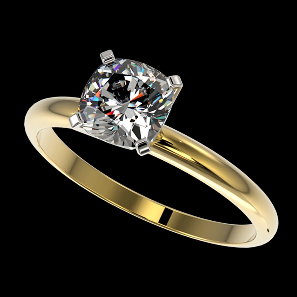 1 ctw Certified VS/SI Quality Cushion Cut Diamond Ring 10k Yellow Gold - REF-243H2R