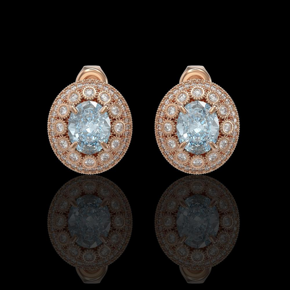 7.24 ctw Aquamarine & Diamond Earrings 14K Rose Gold - REF-221W6H - SKU:43641