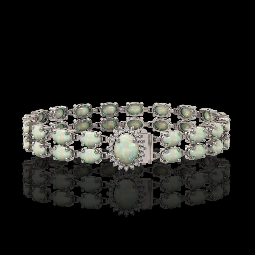 13.69 ctw Opal & Diamond Bracelet 14K White Gold - REF-146F9N - SKU:45437