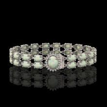 Lot 3006: 13.69 ctw Opal & Diamond Bracelet 14K White Gold - REF-146F9N - SKU:45437