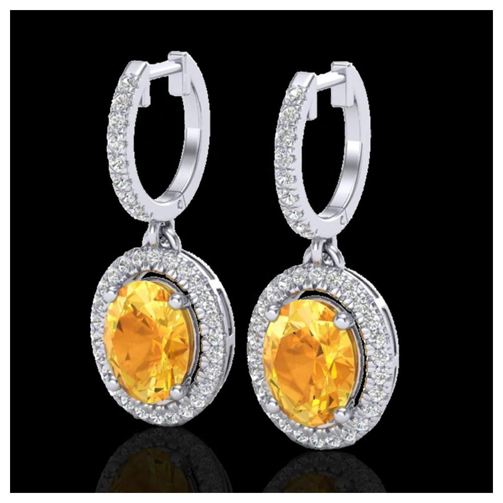 3.50 ctw Citrine & VS/SI Diamond Earrings 18K White Gold - REF-94F5N - SKU:20320