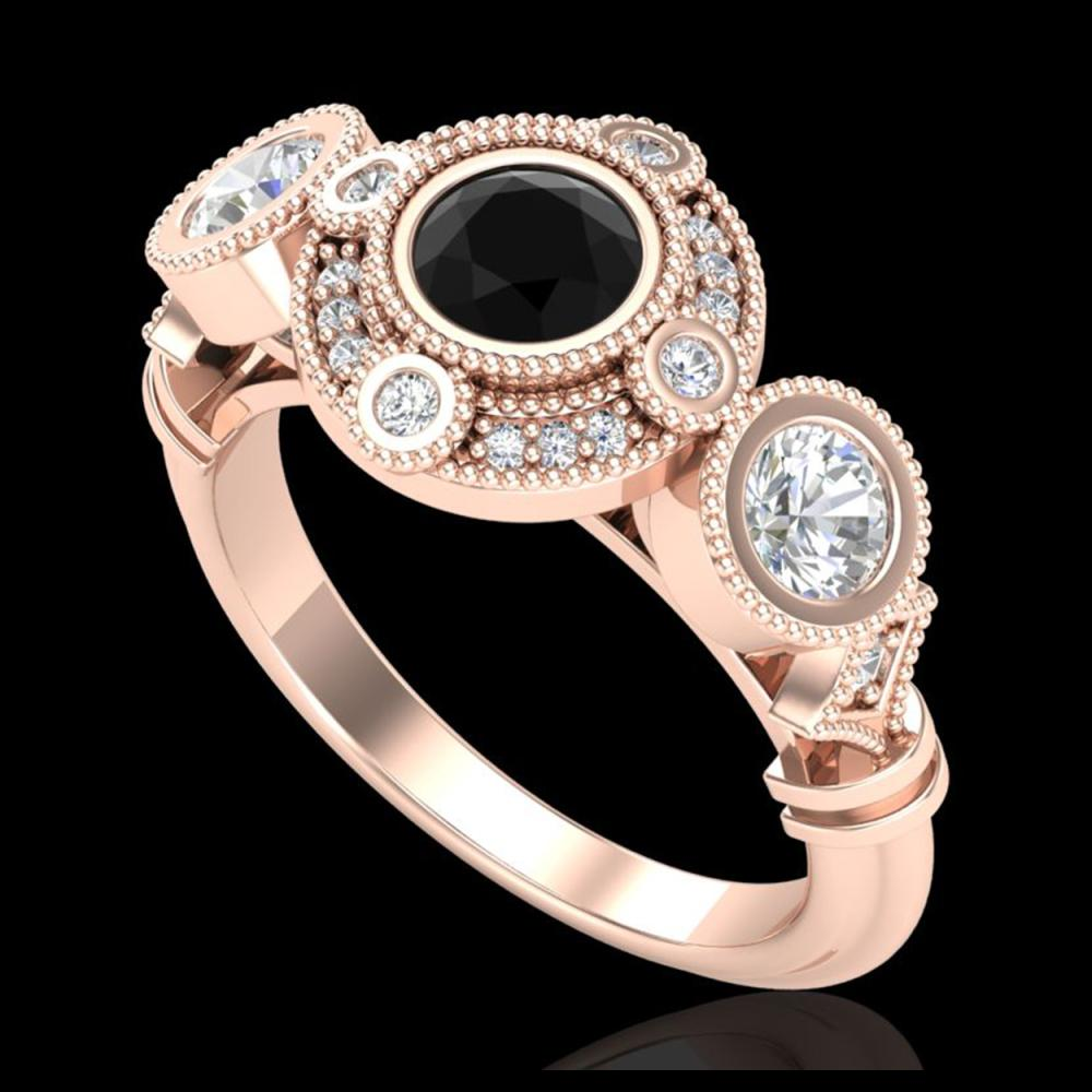 1.51 ctw Fancy Black Diamond Art Deco 3 Stone Ring 18K Rose Gold - REF-174R5K - SKU:37710
