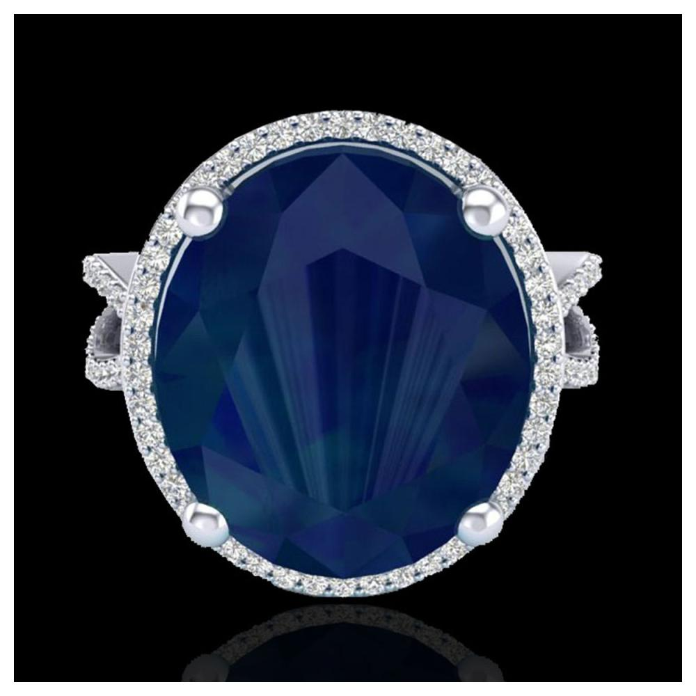 12 ctw Sapphire & VS/SI Diamond Ring 18K White Gold - REF-143K6W - SKU:20967
