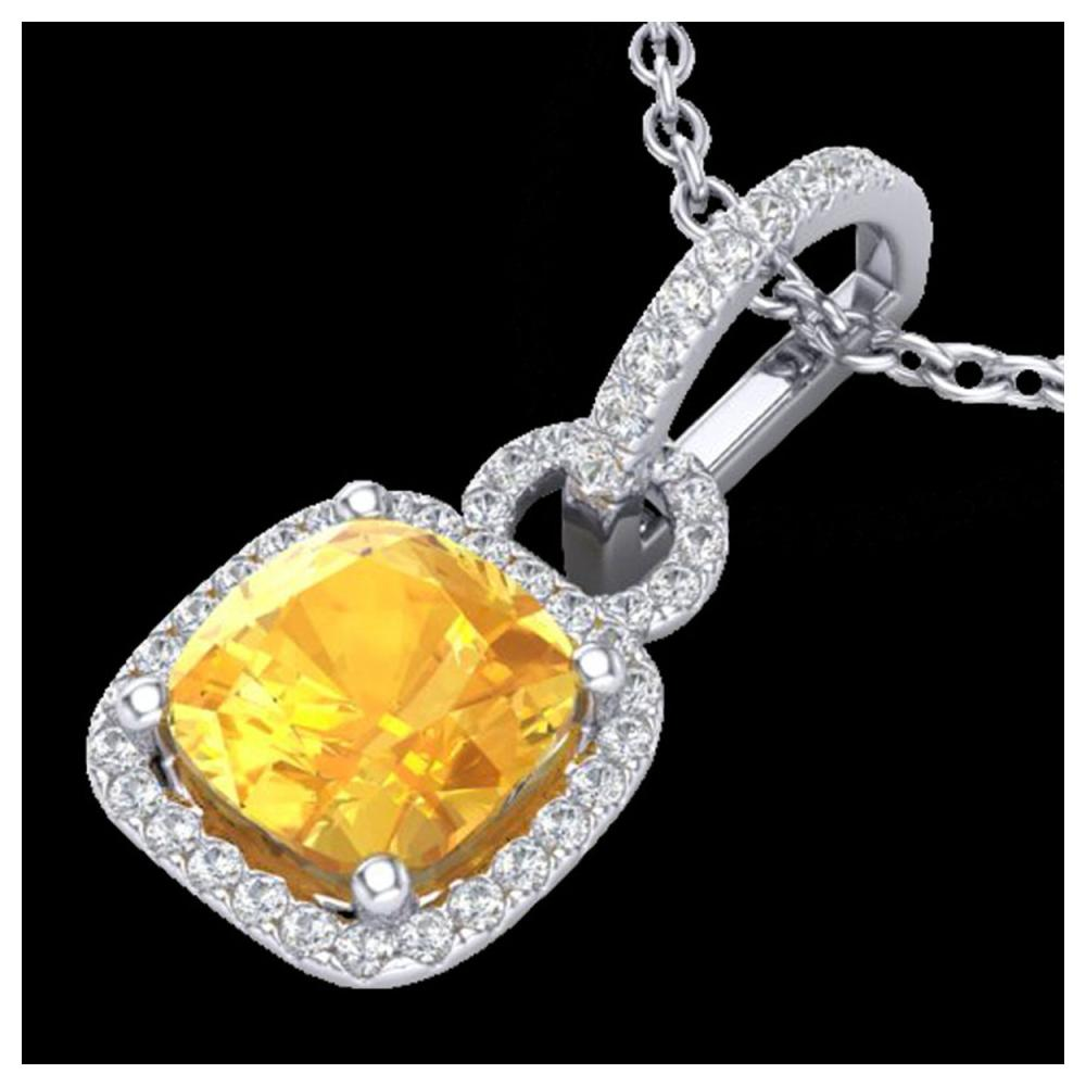 3.50 ctw Citrine & VS/SI Diamond Necklace 18K White Gold - REF-64A2V - SKU:22978