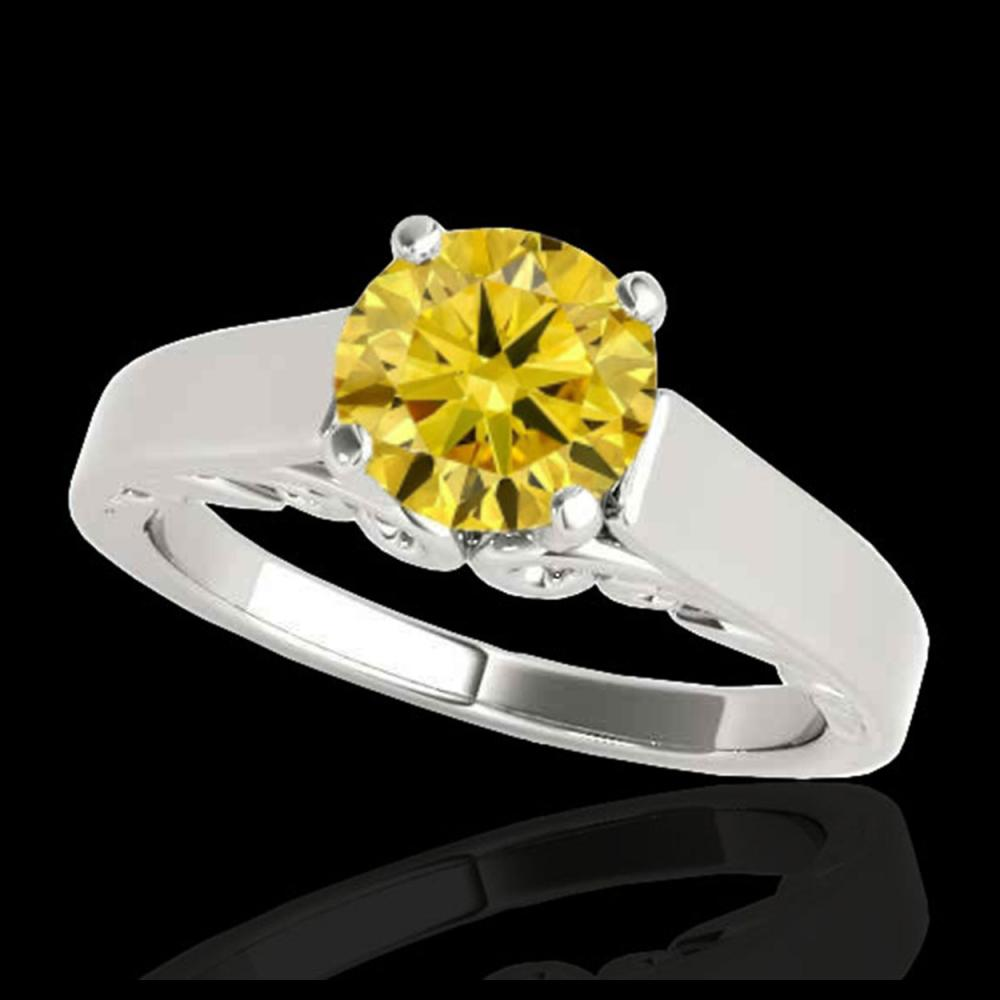 1 ctw SI/I Fancy Intense Yellow Diamond Ring 10K White Gold - REF-156A8V - SKU:35144