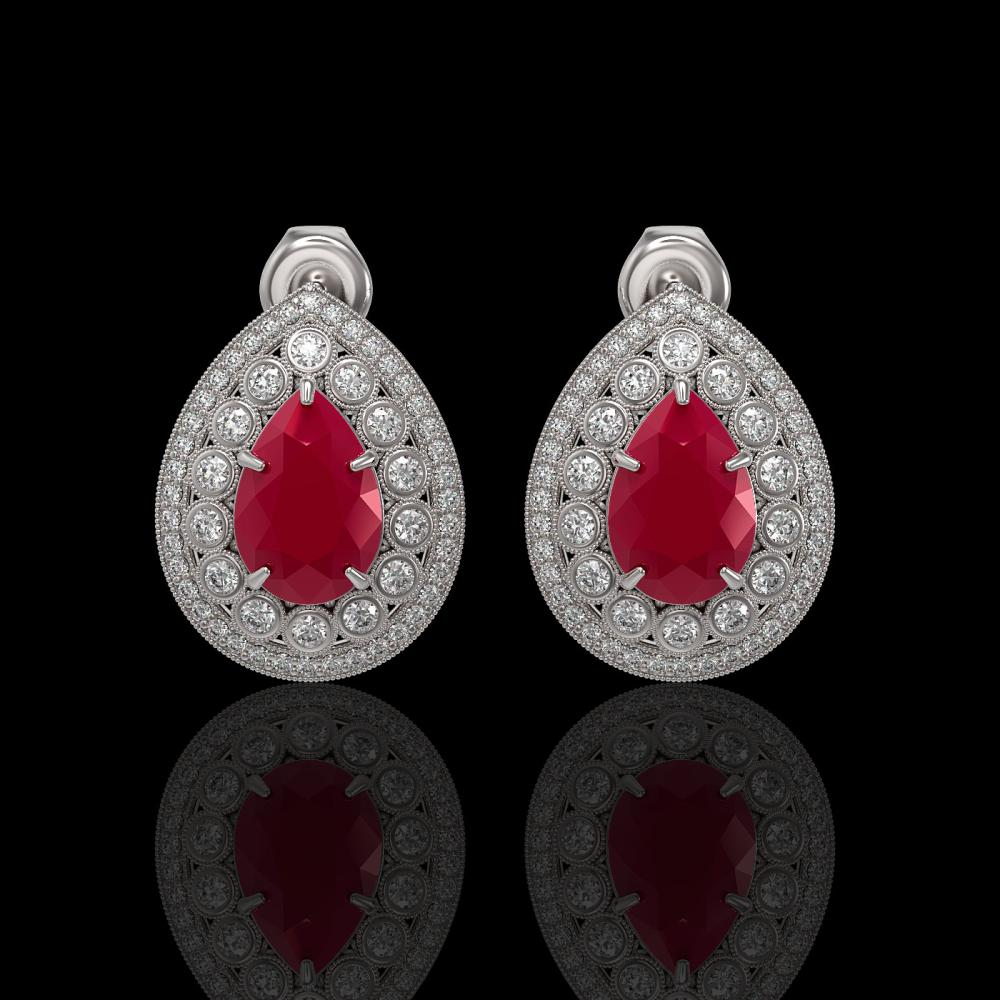 9.74 ctw Ruby & Diamond Earrings 14K White Gold - REF-254N4A - SKU:43175