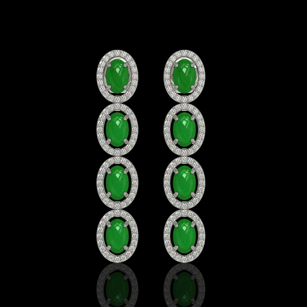 6.44 ctw Jade & Diamond Halo Earrings 10K White Gold - REF-103H6M - SKU:46007