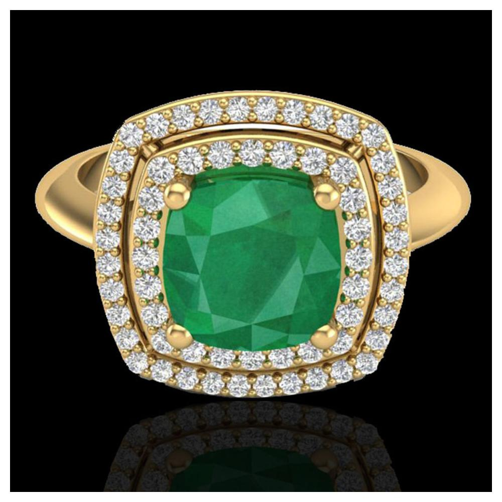 2.52 ctw Emerald & VS/SI Diamond Ring 18K Yellow Gold - REF-70W9H - SKU:20760