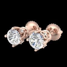 Lot 3014: 1.26 ctw VS/SI Diamond Solitaire Art Deco Stud Earrings 18K Rose Gold - REF-209N3A - SKU:37020