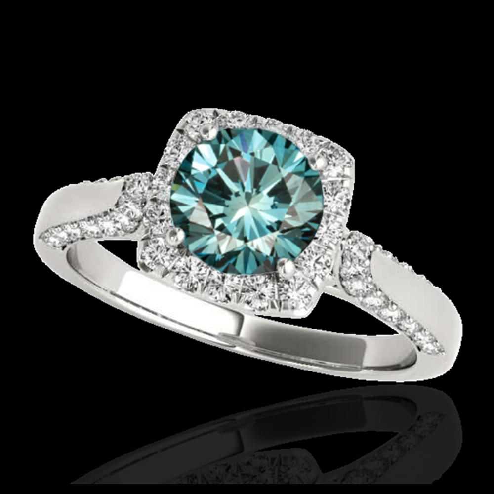 1.50 ctw SI Fancy Blue Diamond Solitaire Halo Ring 10K White Gold - REF-132M3F - SKU:33369