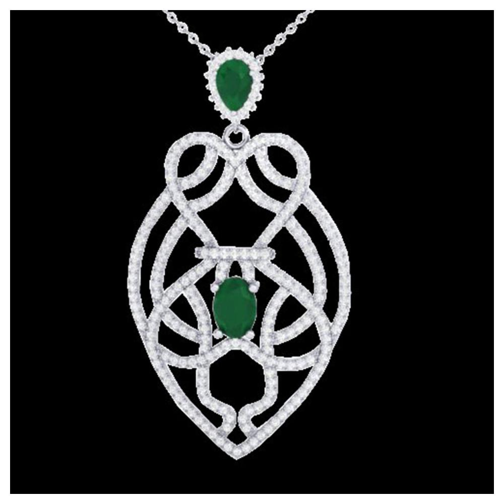 3.50 ctw Emerald & VS/SI Diamond Heart Necklace 14K White Gold - REF-179W6H - SKU:21248