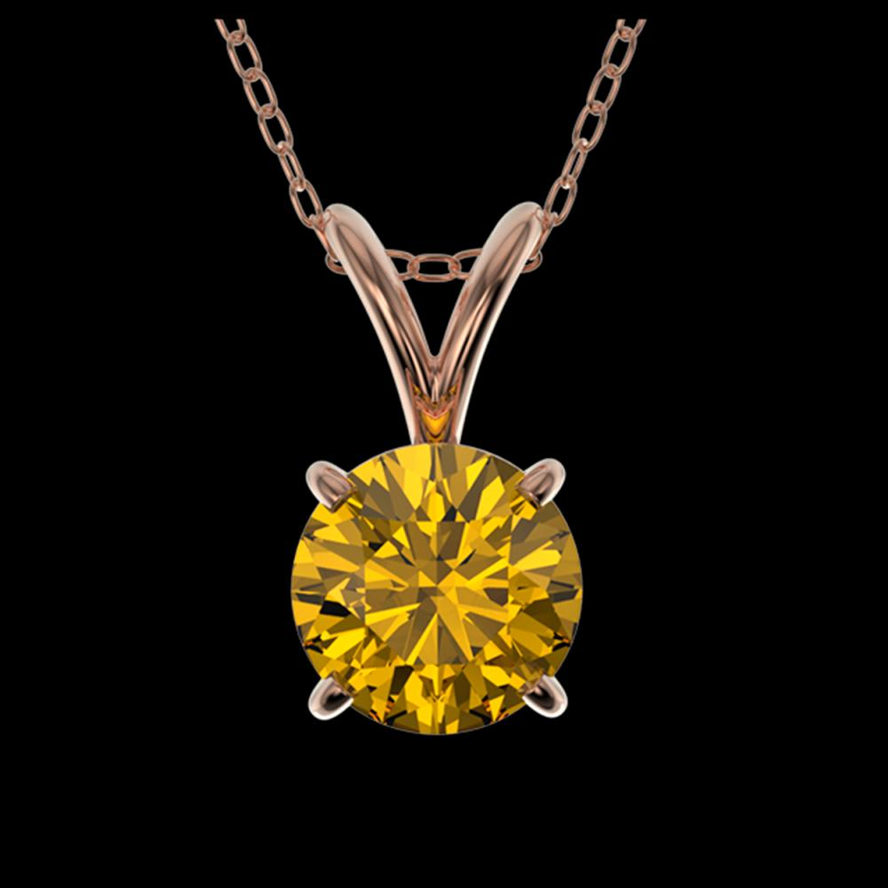 0.75 ctw Intense Yellow Diamond Necklace 10K Rose Gold - REF-100A5V - SKU:33181