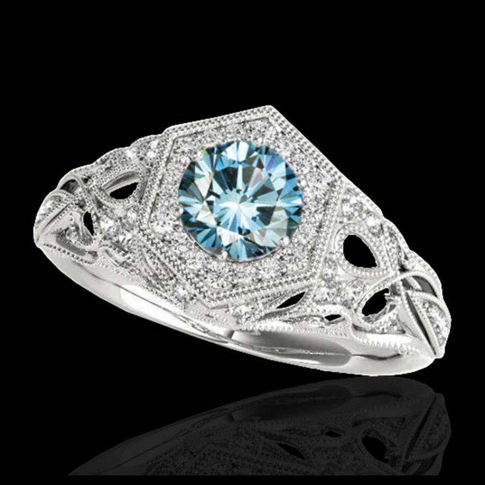 1.40 ctw SI Fancy Blue Diamond Ring 10K White Gold - REF-150H2M - SKU:34180