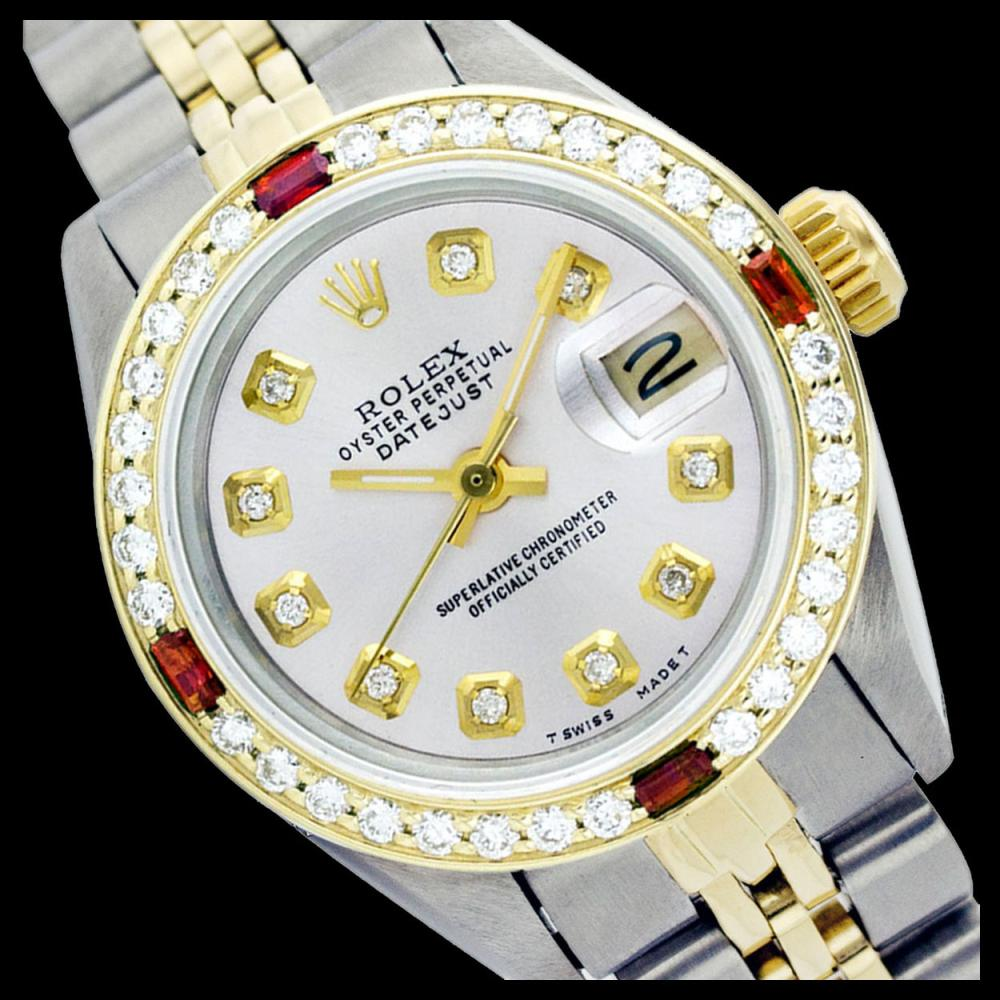 Rolex Ladies Two Tone 14K Gold/SS, Diam Dial & Diam/Ruby Bezel, Sapphire Crystal - REF-434M3F