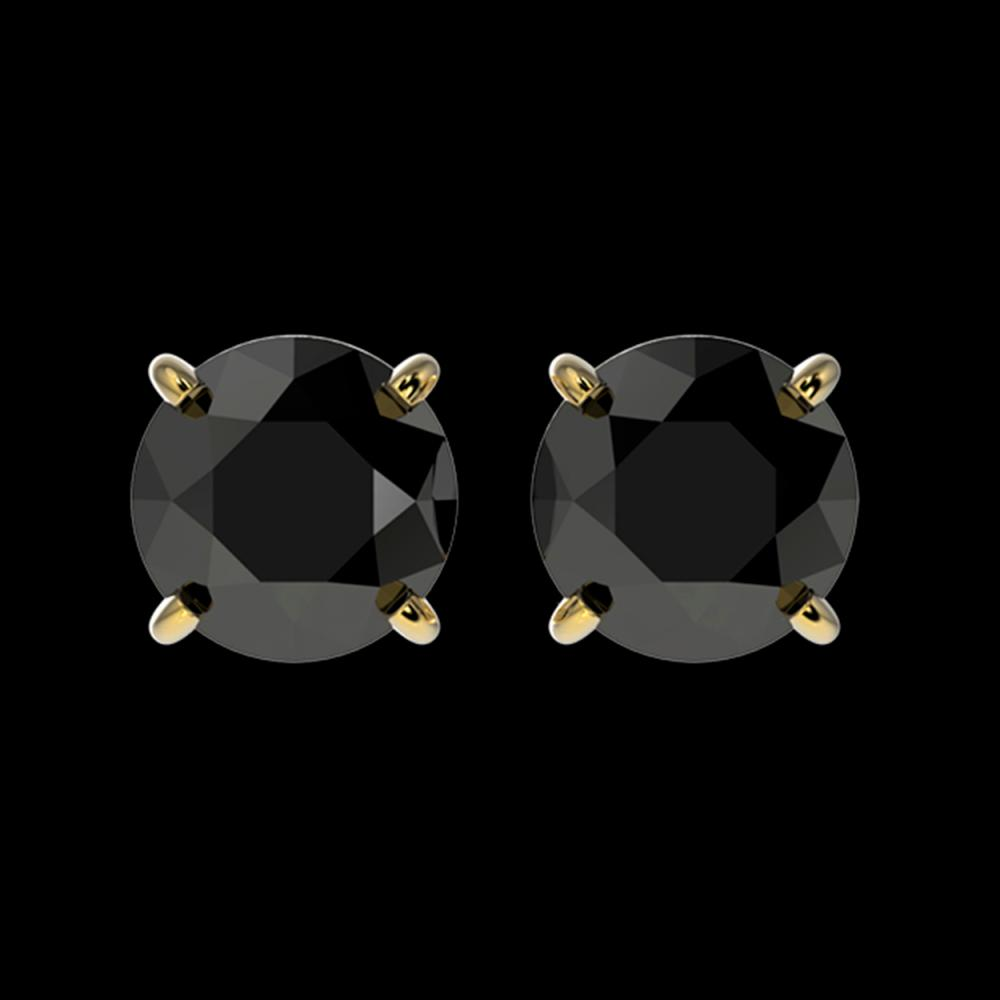 1.61 ctw Fancy Black Diamond Solitaire Stud Earrings 10K Yellow Gold - REF-48M2F - SKU:36614