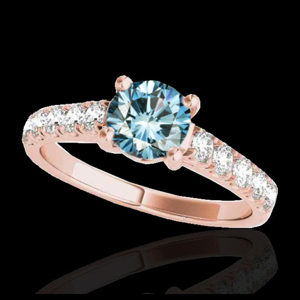 1.55 ctw SI Fancy Blue Diamond Solitaire Ring 10K Rose Gold - REF-155Y5X - SKU:35495