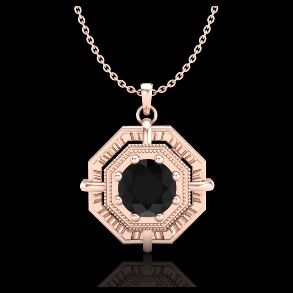 Lot 3022: 0.75 ctw Fancy Black Diamond Art Deco Stud Necklace 18K Rose Gold - REF-80Y2X - SKU:37458