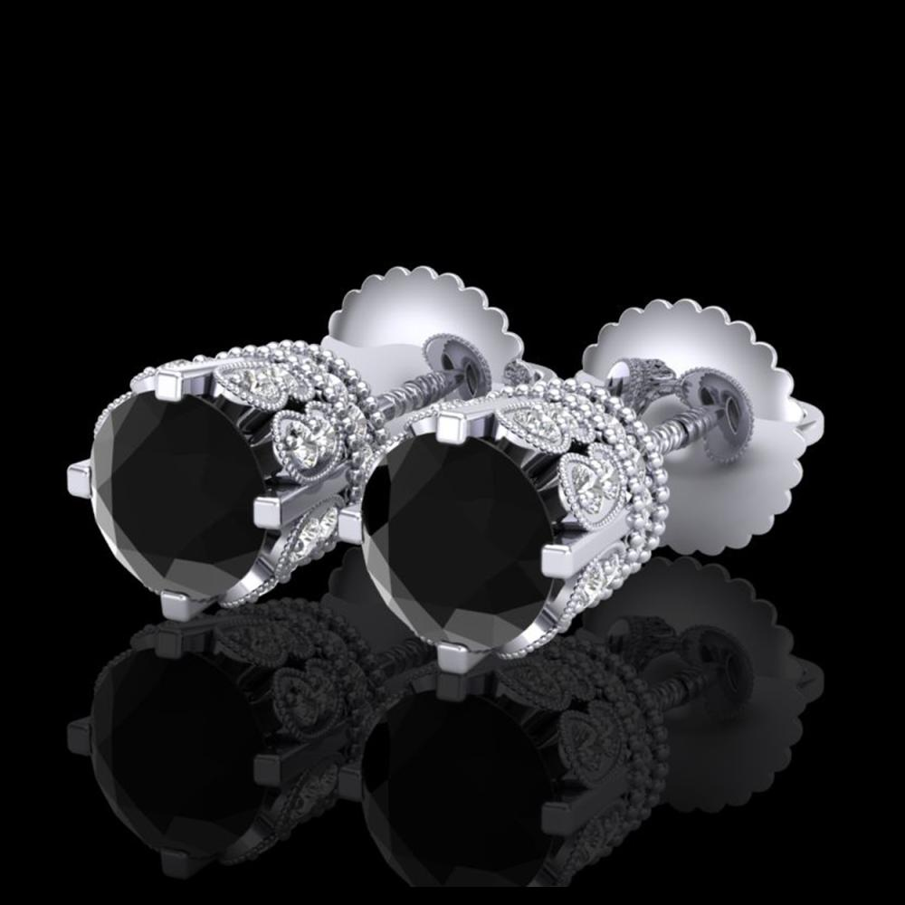 3 ctw Fancy Black Diamond Art Deco Stud Earrings 18K White Gold - REF-149Y3X - SKU:37359