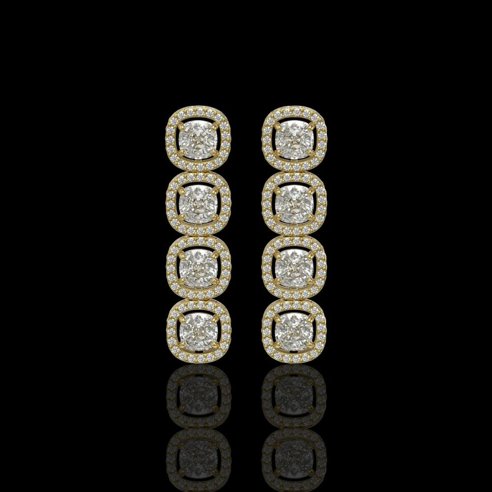 5.28 ctw Cushion Diamond Earrings 18K Yellow Gold - REF-736V2Y - SKU:42631
