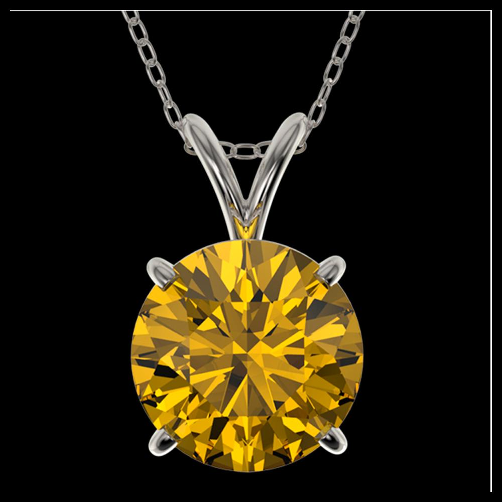 2.03 ctw Intense Yellow Diamond Necklace 10K White Gold - REF-555N2A - SKU:36816