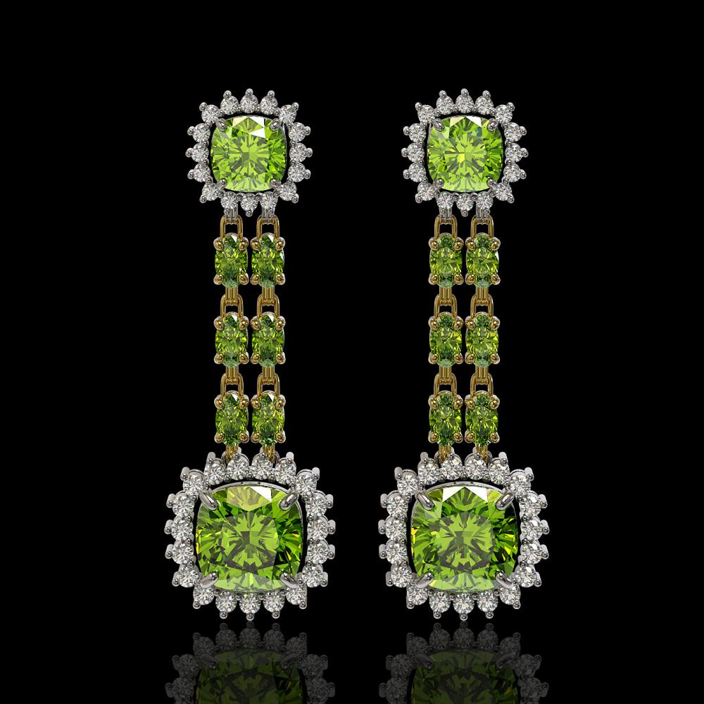 19.88 ctw Peridot & Diamond Earrings 14K Yellow Gold - REF-269Y5X - SKU:44938