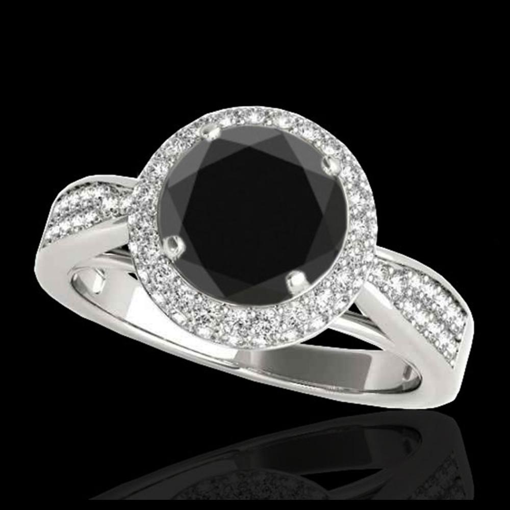 2.15 ctw VS Black Diamond Solitaire Halo Ring 10K White Gold - REF-72R3K - SKU:34417