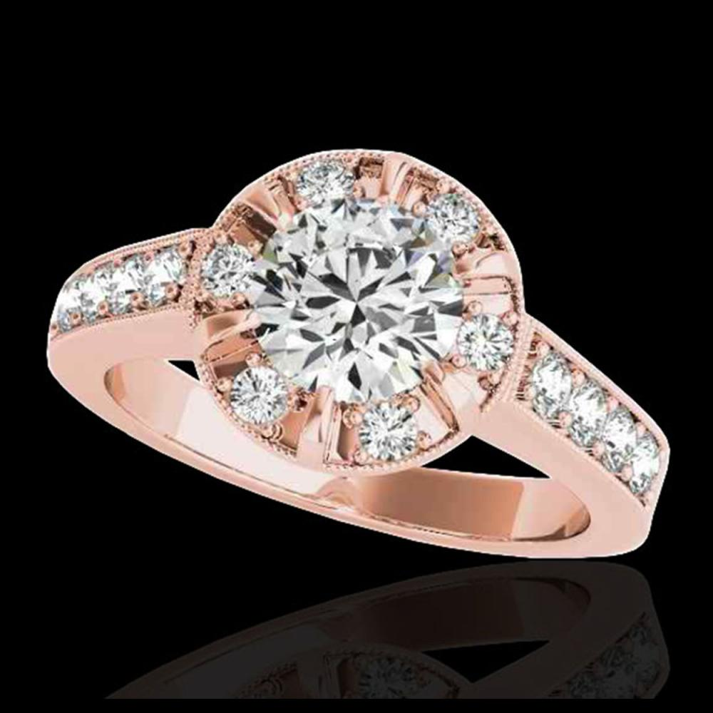 2 ctw H-SI/I Diamond Solitaire Halo Ring 10K Rose Gold - REF-177N3A - SKU:34487