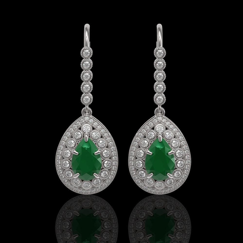 10.15 ctw Emerald & Diamond Earrings 14K White Gold - REF-286Y2X - SKU:43145