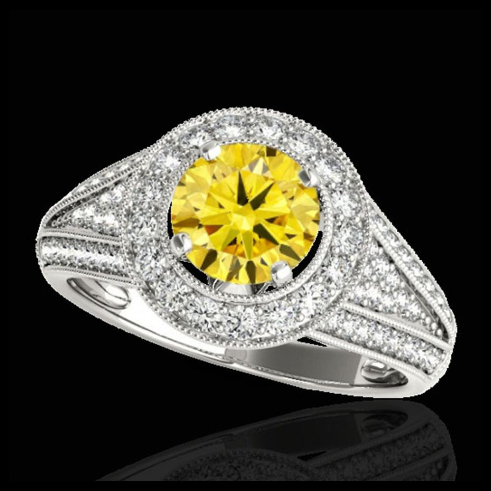 2.17 ctw SI/I Fancy Intense Yellow Diamond Ring 10K White Gold - REF-340N9A - SKU:33983