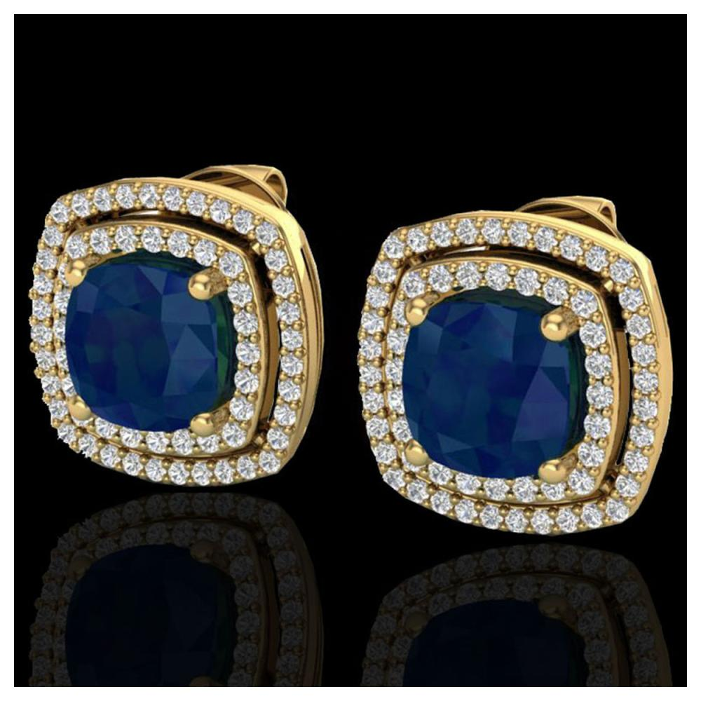 4.95 ctw Sapphire & VS/SI Diamond Earrings 18K Yellow Gold - REF-125X5R - SKU:20172
