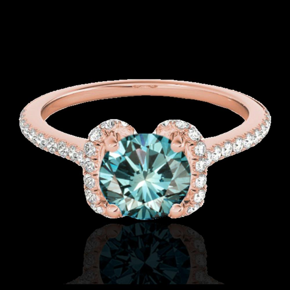1.33 ctw SI Fancy Blue Diamond Halo Ring 10K Rose Gold - REF-122W6H - SKU:33295