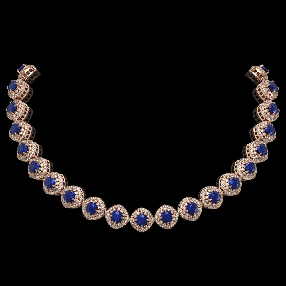 82.17 ctw Sapphire & Diamond Necklace 14K Rose Gold - REF-1926K9W - SKU:44103