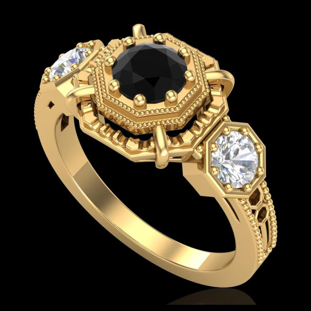 1.01 ctw Fancy Black Diamond Art Deco 3 Stone Ring 18K Yellow Gold - REF-96Y4X - SKU:37466